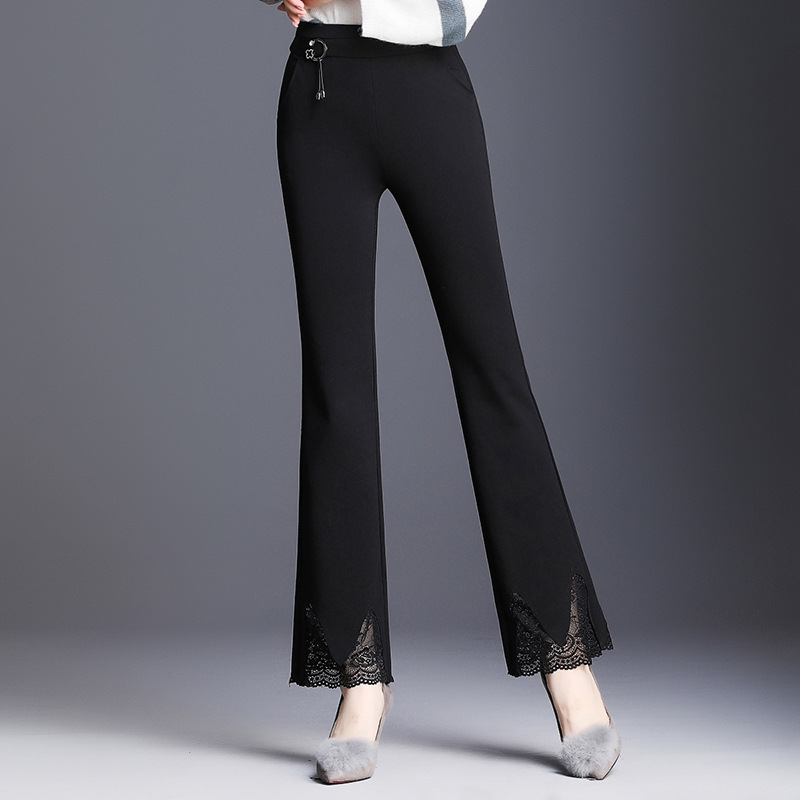 Lace Spliced Women's Flare Pants Elegant Woman's Trousers Clothing