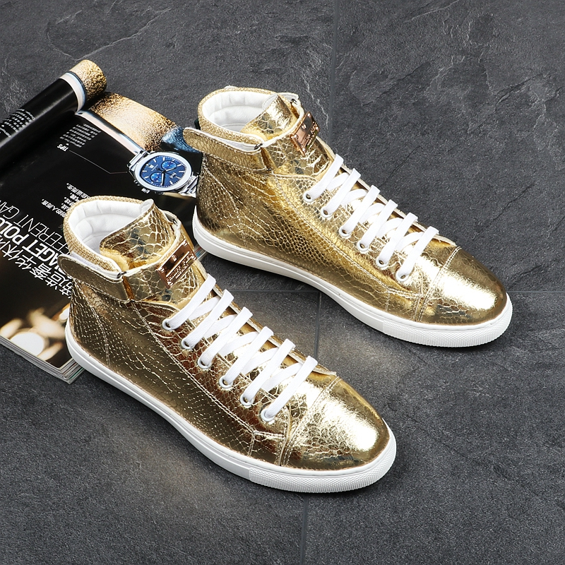 Kaeve Italian Punk Style Fashion Men Gold High Top Shoes Sneaker Boot Gold Metal Male Booties Leather Flats Embroidered Hot italian visual phrase book