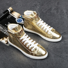 Kaeve Italian Punk Style Fashion Men Gold High Top Shoes Sneaker Boot Metal Male Booties Leather Flats Embroidered Hot