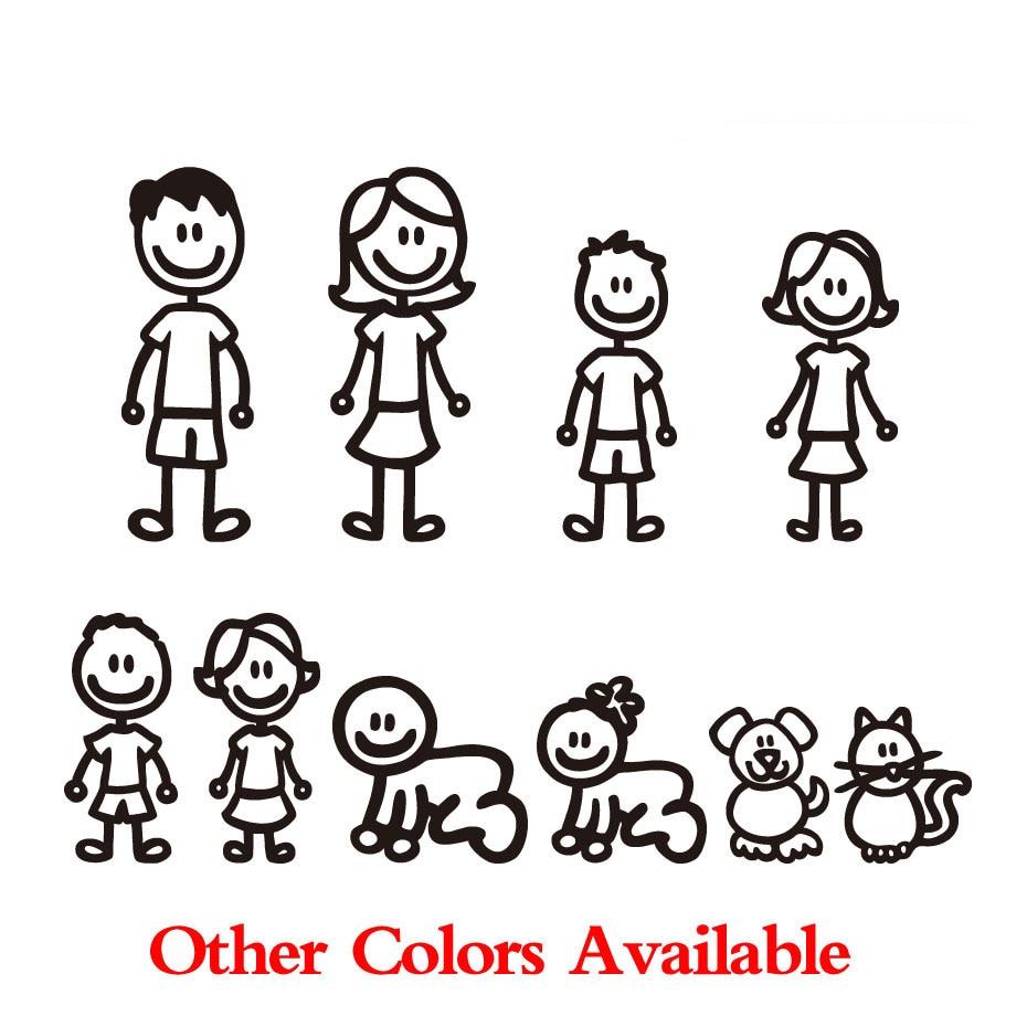 Family car sticker designs - Car Styling Custom Family Member Viny Decal Car Stick Figure Diy Adhesive Window Car Stickers Waterproof