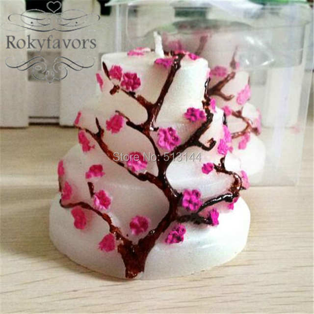 FREE SHIPPING 24PCS Cherry Blossom Cake Candle Bridal Shower Birthday Gifts Wedding Party Giveaways