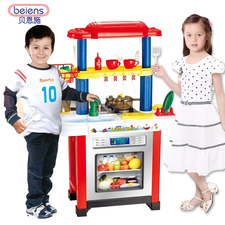 Beiens play kitchen set abs plastic kid food fruit kitchen for Plastic kitchen set