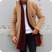 Khaki Wool Tweed Mens Trench Long Jackets Coats Overcoat Winter Solid Slim Fit Outwear Hombre Peaked Lapel Coats Costume Homme