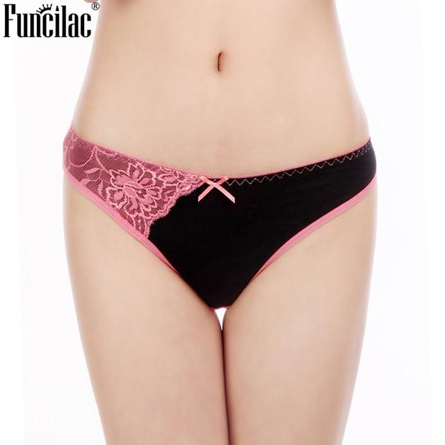 FUNCILAC Underwear Women Cotton Sexy Lace Plus Size Transparent Seamless Women's Panties Patchwork Lingerie M L XL XXL  6pcs/lot 1
