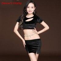 رقص راقصة حيوية الصدر موضوع فارغ جولة الرقبة قصيرة الأكمام رقص لباس الرقص الشرقي