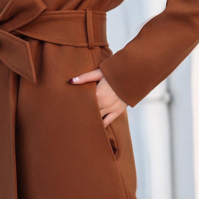 Mélange Manteau Manteaux Femmes Bouton camel longue Lady Couvert Ceintures X Office Laine Mince Turn Cachemire Solide Veste Dames down Bleu Col gnBYXw5qx