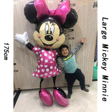 1pc 175cm Large Minnie and Mickey Balloons Happy Birthday Party Decoration Kids Babyshower Boy Helium Foil Ballons Girls Toy