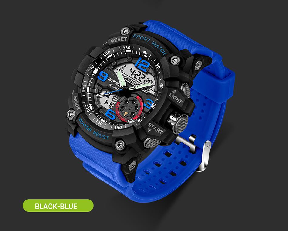 Sanda 759 Men Military Sport Watch Black Blue