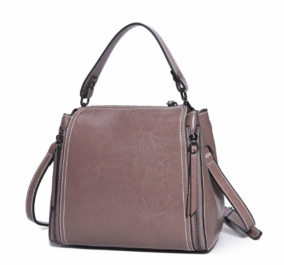 New Genuine Leather Scrub Female Bucket Bag Korean Style Retro Shoulder Bag Fashion Lady Messenger Bag Hot Party Handbag C075 new vintage genuine leather lady shoulder bag fashion portable elegant women handbag hot classic exquisite messenger bag c481
