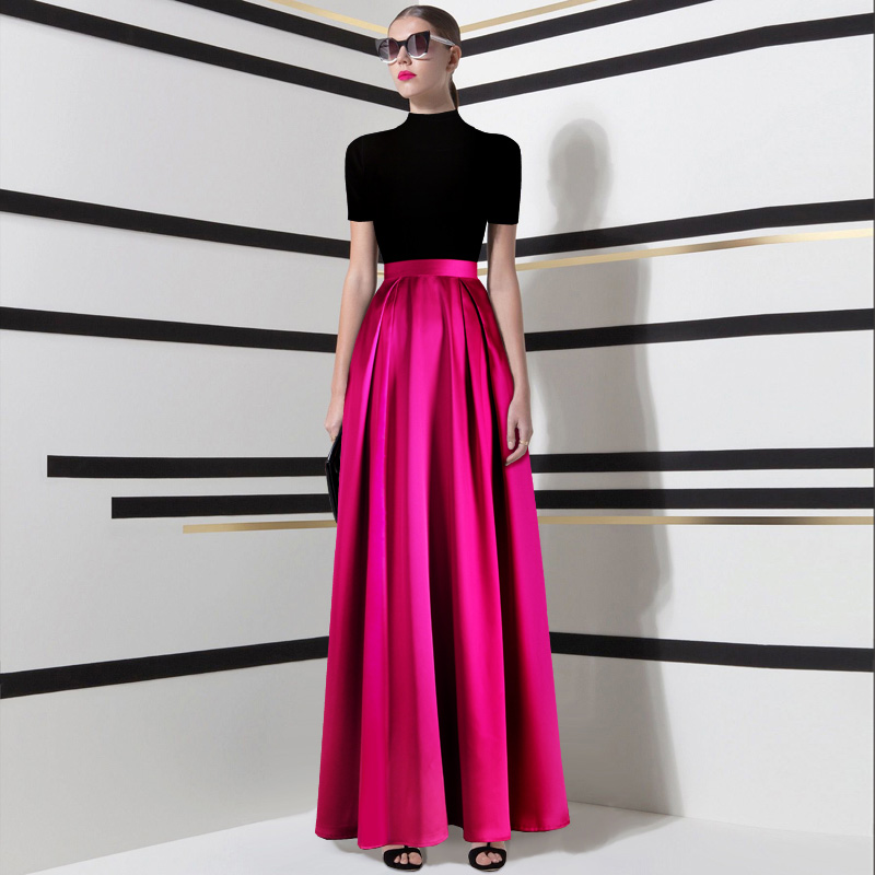 24 COLORS Women Plus Size Satin Pleated <font><b>Ball</b></font> Gown Maxi <font><b>Skirts</b></font> High Waist <font><b>Skirt</b></font> Ladies 3xs-10xl Long <font><b>Skirts</b></font> Saias image