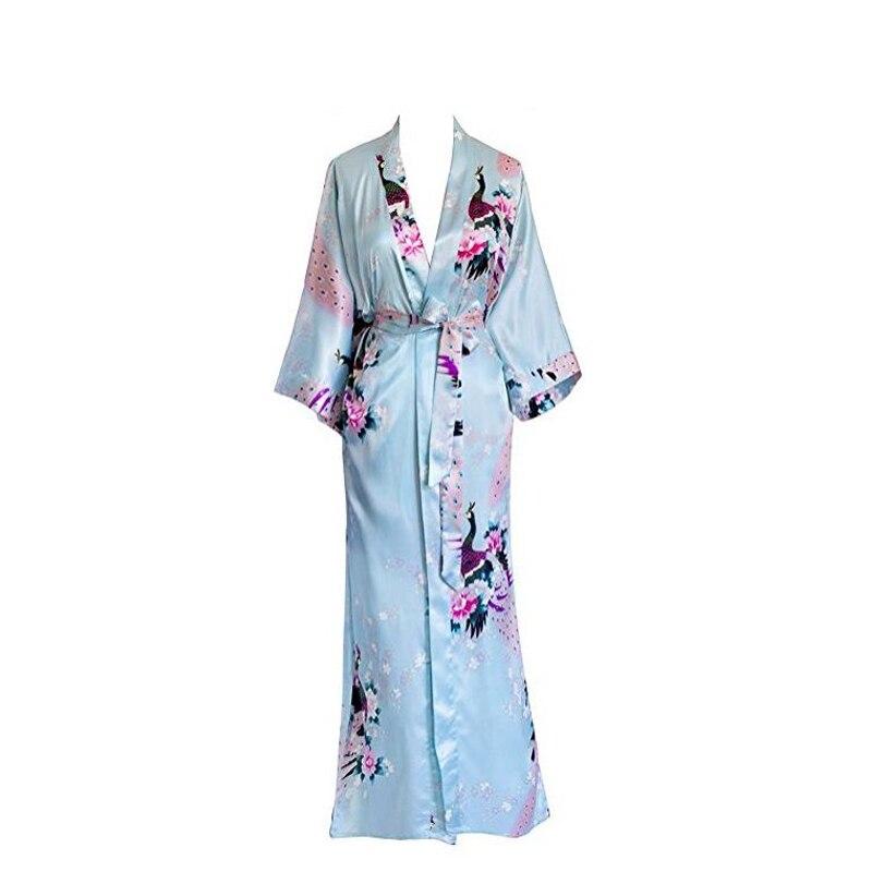 Image 5 - Plus Size XXXL Chinese Women Long Robe Print Flower Peacock Kimono Bathrobe Gown Bride Bridesmaid Wedding Robes Sexy Sleepwear-in Robes from Underwear & Sleepwears