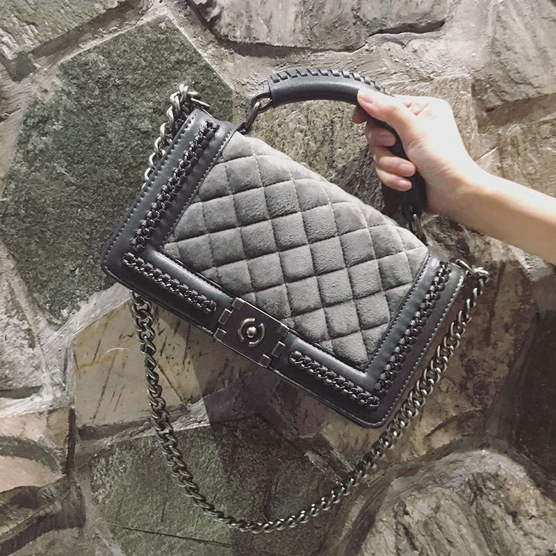 Velvet Diamond Lattice Women Designer Chain Handbags Lady Quilted Plaid Shoulder Crossbody Bags Women Messenger cover Bag mini gray shaggy deer pvc quilted chain bag with cover real picture