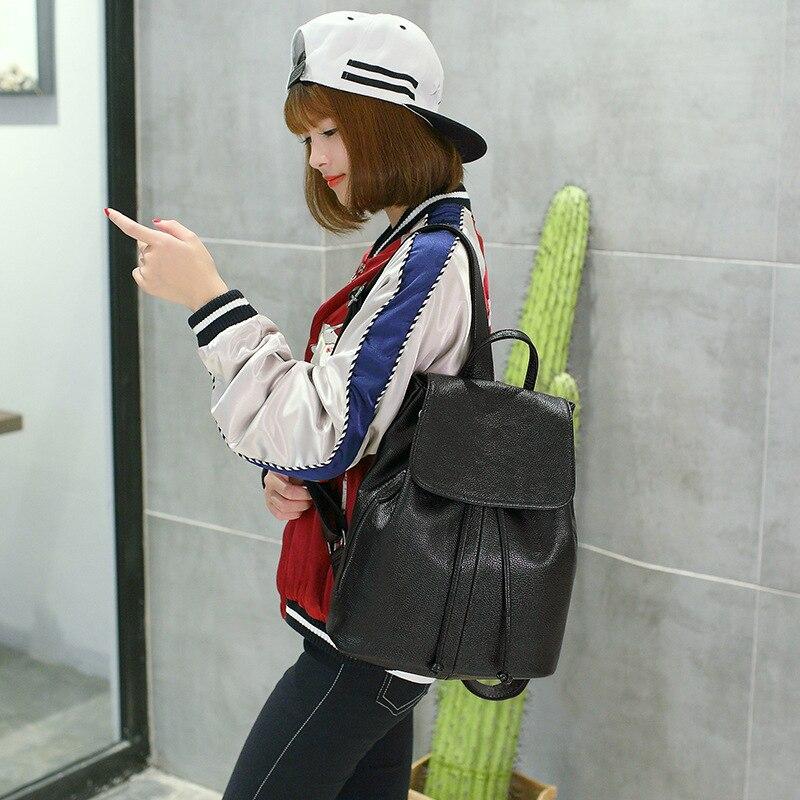 Спилок милый рюкзак маленький рюкзак женский сплошной черный школьные сумки для девочек подростков - 2