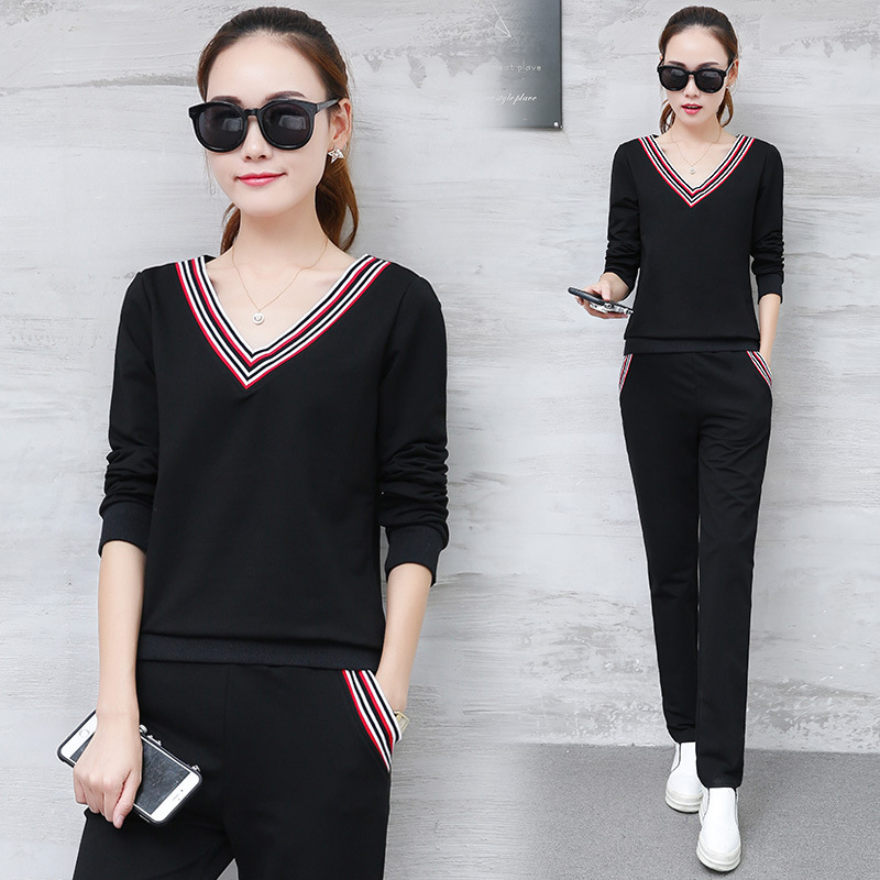 Wholesale 2018 Autumn Korean long-sleeved trousers casual fashion suits women two sets of women's wear one hair