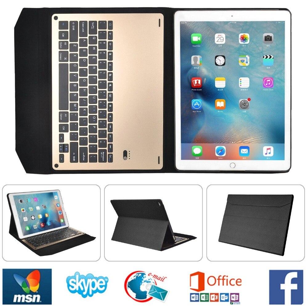 Kemile environnement PU housse sans fil Bluetooth en alliage d'aluminium clavier d'affaires pour iPad Pro 12.9 batterie intégrée