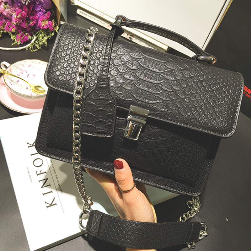 3ccace5e32 Grey Black LUXURY Fashion Crocodile Pattern Women Bag Genuine Leather Chain  Shoulder Messenger Bags Handbags Female Sac A Main