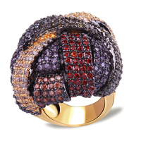 2014 New Arrival 18K Gold Plated With Cubic Zircon Stone Color Big Ring Romantic Party Jewelry