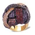 Nova chegada de luxo Cor grande Anel de cobre Anel banhado a ouro com zircão Cúbico Romantic partido jóias Frete grátis Full size