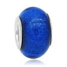 Hot Sale Dark Blue Round Murano Glass Beads Fit Original Pandora Silver Charm Bracelet Pendant DIY Jewelry Making