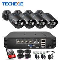 Techege 4CH CCTV система 720 P HDMI аналоговая камера высокого разрешения, система видеонаблюдения, цифровой видеорегистратор 1,0 MP IR Водонепроницаемая...