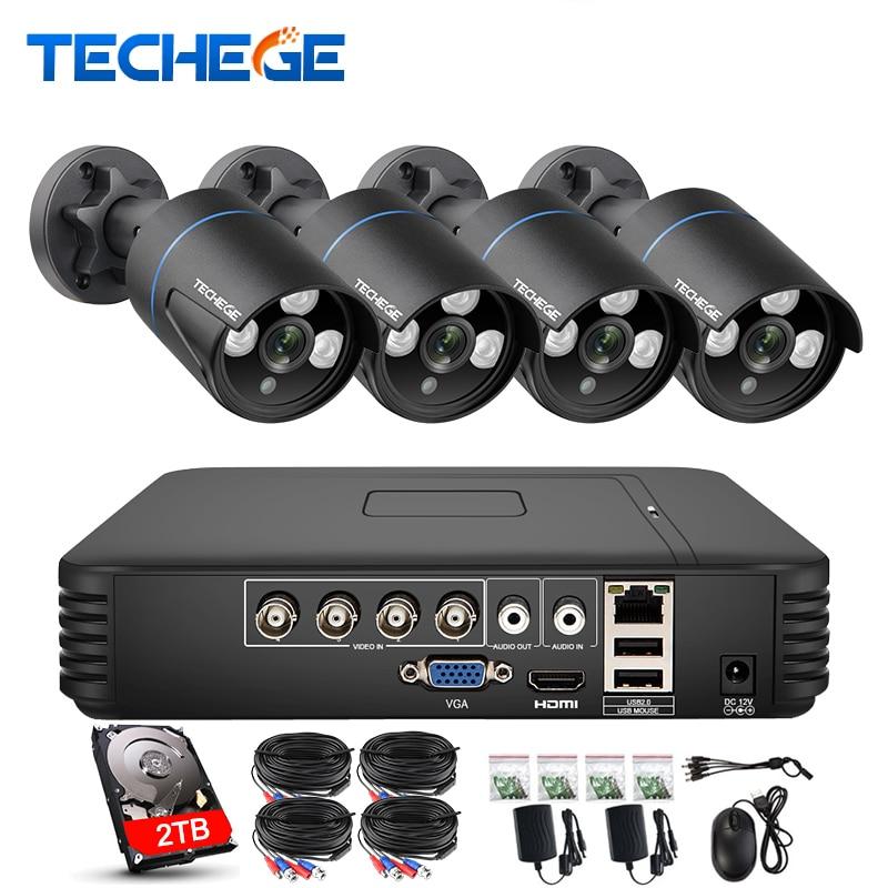 Techege 4CH CCTV Système 720 p HDMI AHD CCTV DVR 1.0 MP IR Étanche Extérieure Caméra de Sécurité 1200 TVL Caméra kit de Surveillance