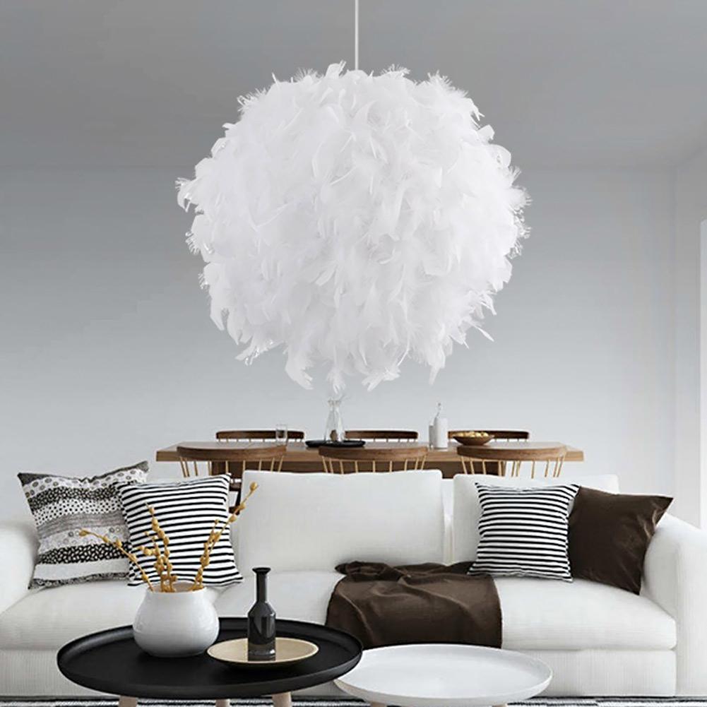 Moderne mode kurze weißrosa feder pendelleuchten wohnzimmer schlafzimmer hochzeit decor hängende lampe suspension leuchten