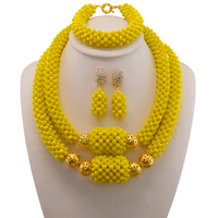 Yellow Bridesmaid Necklace Bracelet Set 2017 Nigerian Wedding Costume Statement Jewelry For Women Choker African Beads