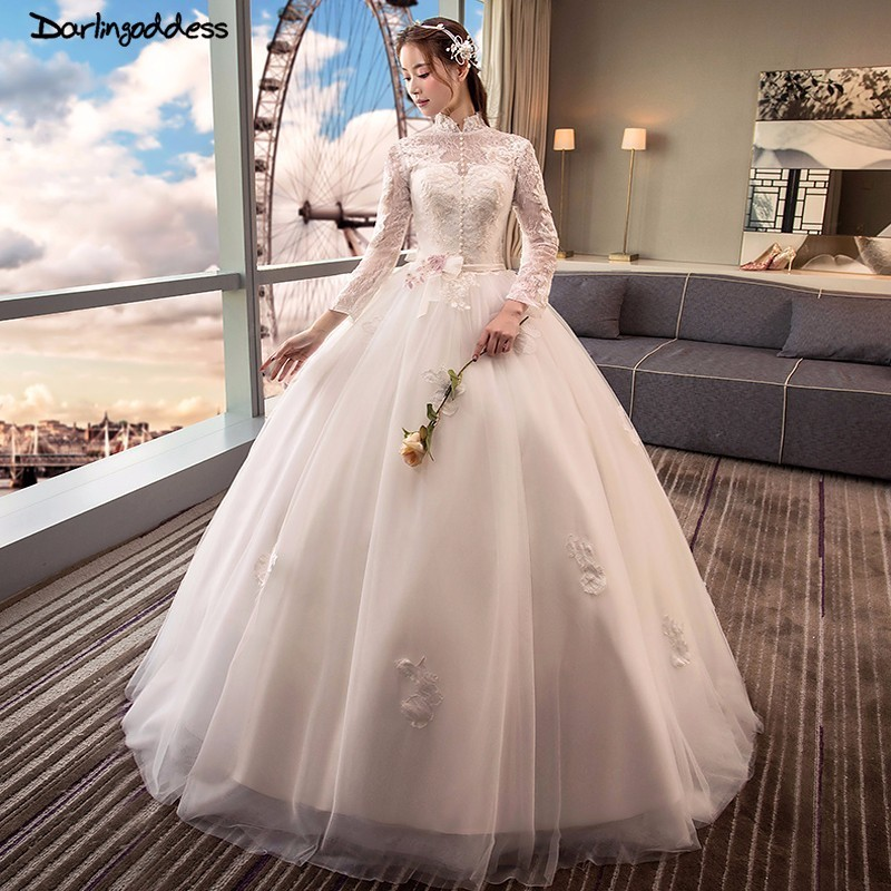 3711ba5a6fb0b US $108.6 35% OFF|Vestidos De Novia Luxury High Neck Long Sleeve Wedding  Dress Ball Gown Lace Open Back Wedding Dresses 2018 Robe De Mariage-in ...