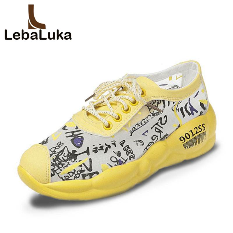 Tuyoki Flats Sneakers Women Ins Casual Graffiti Mesh Vulcanized Shoes Women Outdoor Brand Breathable Lace Footwear Size 35 40