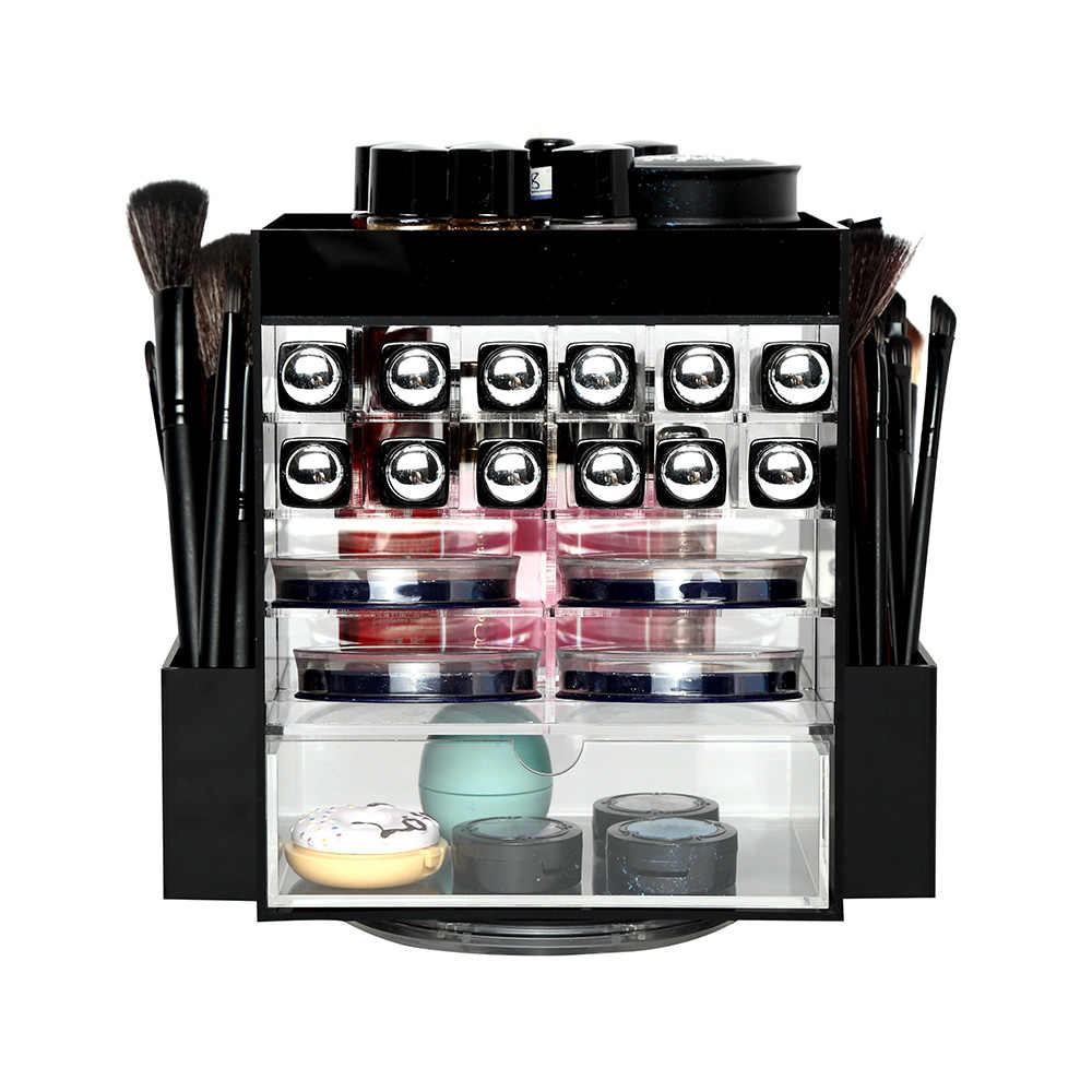 LUGUNU Black Acrylic Organizer for Cosmetics Multifunctional Conceal Lipstick Eyeshadow Brushes Storage Box with Various Grids