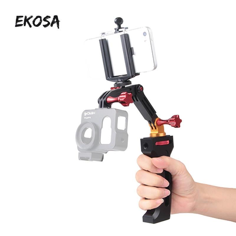 EKOSA Metal holding stabilizer gimbal smooth q selfie stick monopod for gopro 5 4 3 xiaomi yi 4k sjcam sj4000 Smartphones holder