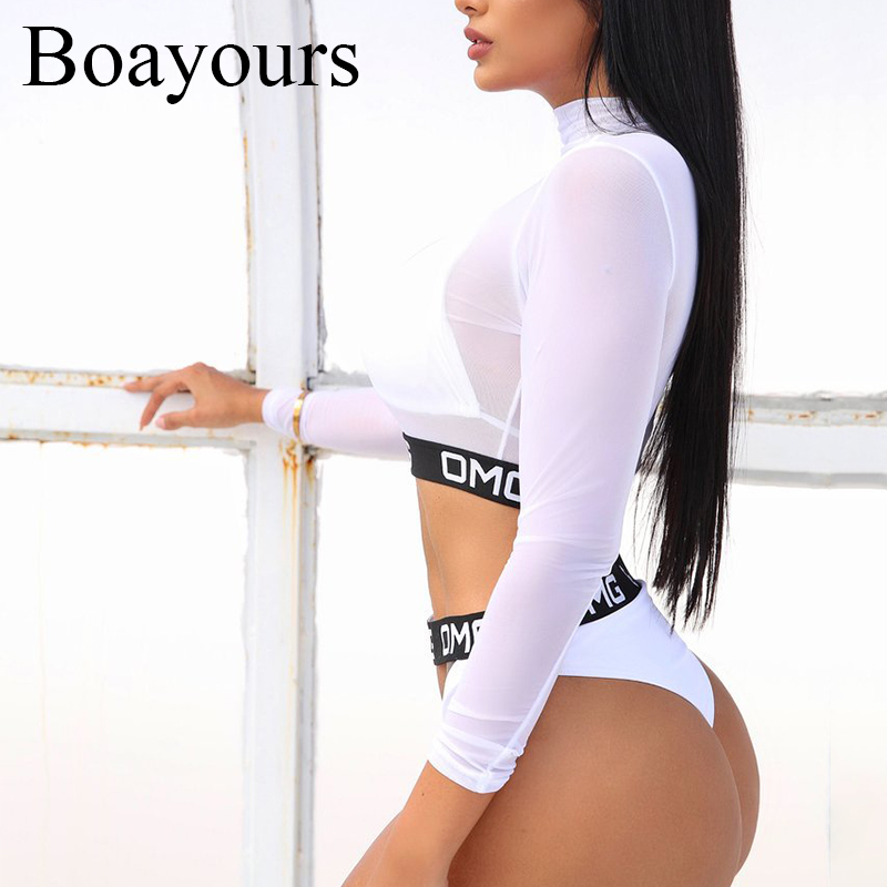 Boayours 2018 Beach Swimsuit Mesh 3 Piece Set Bodycon Bodysuit Women Romper Summer Hollow Out Jumpsuit Playsuit Sexy Overalls