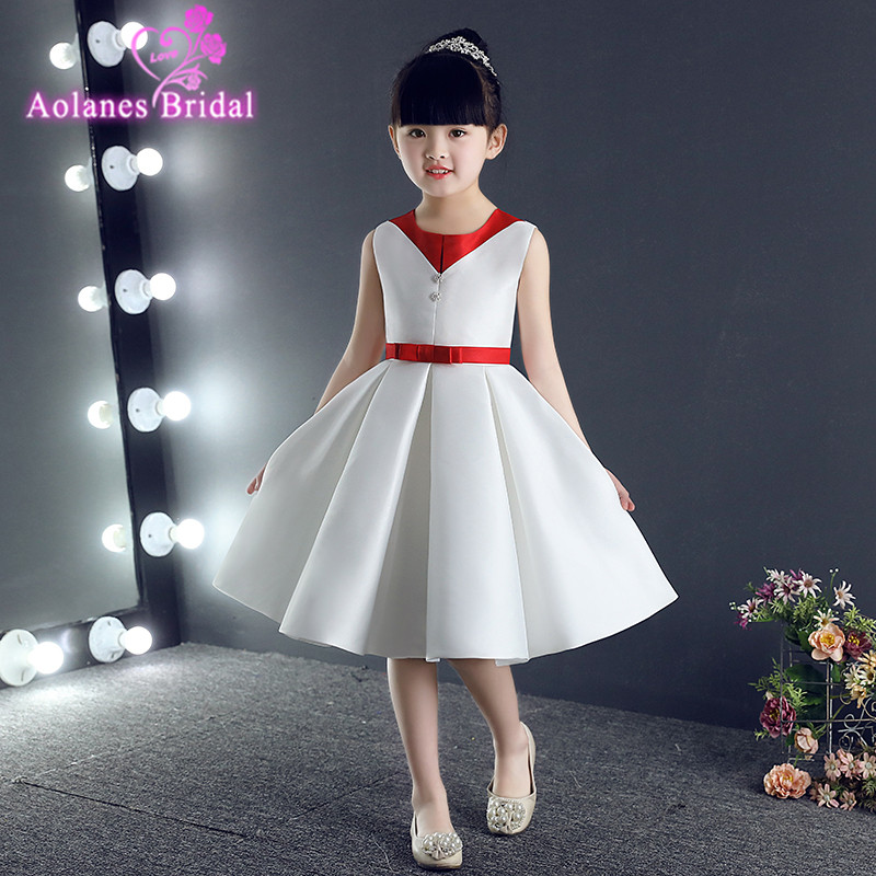 2017 New Real Photo Satin Flower Girl Dress Red White Princess Tutu Flower girl Gown