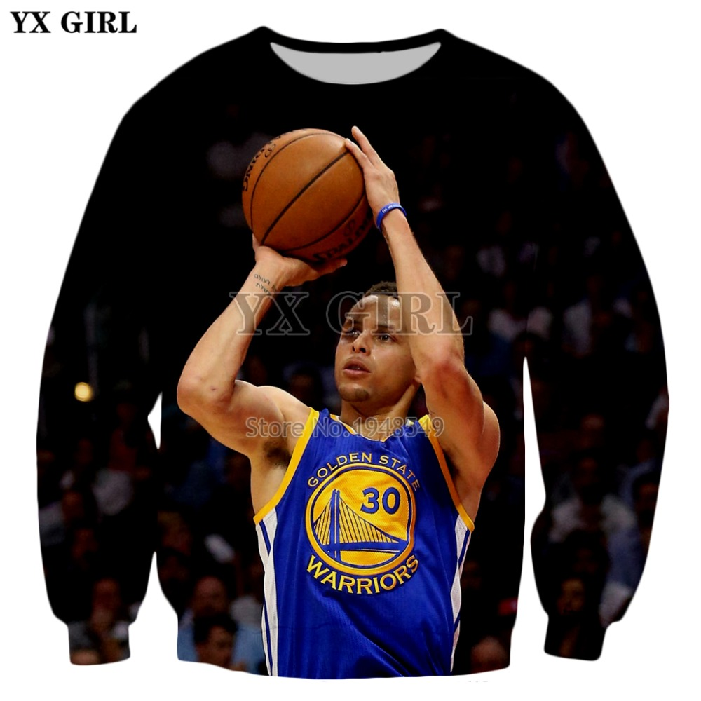 YX GIRL 2018 New Fashion Mens Sweatshirt Stephen Curry character Print 3D Hoodie Men Women Hipster Sweatshirt ZS750