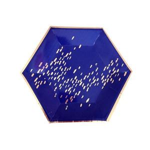Image 3 - משלוח חינם 8 סטי חיל הים כחול שולחן חד פעמי רדיד זהב נייר צלחות כוסות מפיות עבור תינוק מקלחת יום הולדת ספקי צד