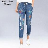 Plus Size Embroidery Hole Elastic Waist Loose Harem Jeans Oversized Ankle Length Women Denim Pants 4xl
