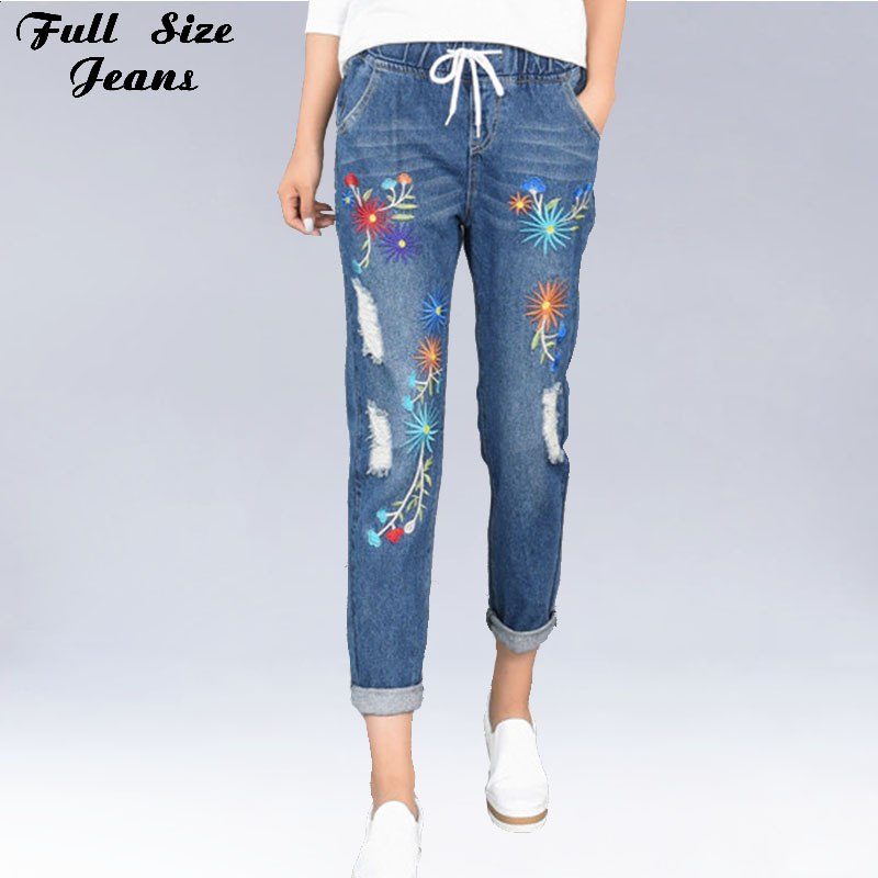 Plus Size Embroidery Hole Elastic Waist Loose Harem Jeans Oversized Ankle Length Women Denim Pants 4Xl 5Xl Xs 6Xl plus size side stripe wide leg blue capris jeans 4xl 7xl oversized tassel irregular fringe ankle length denim pants
