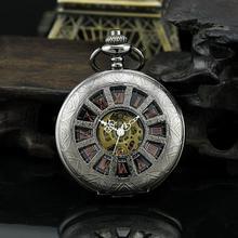 Classic Steampunk Skeleton Mechanical Skeleton Steel Mens Black Windup Pocket Watch PJX907