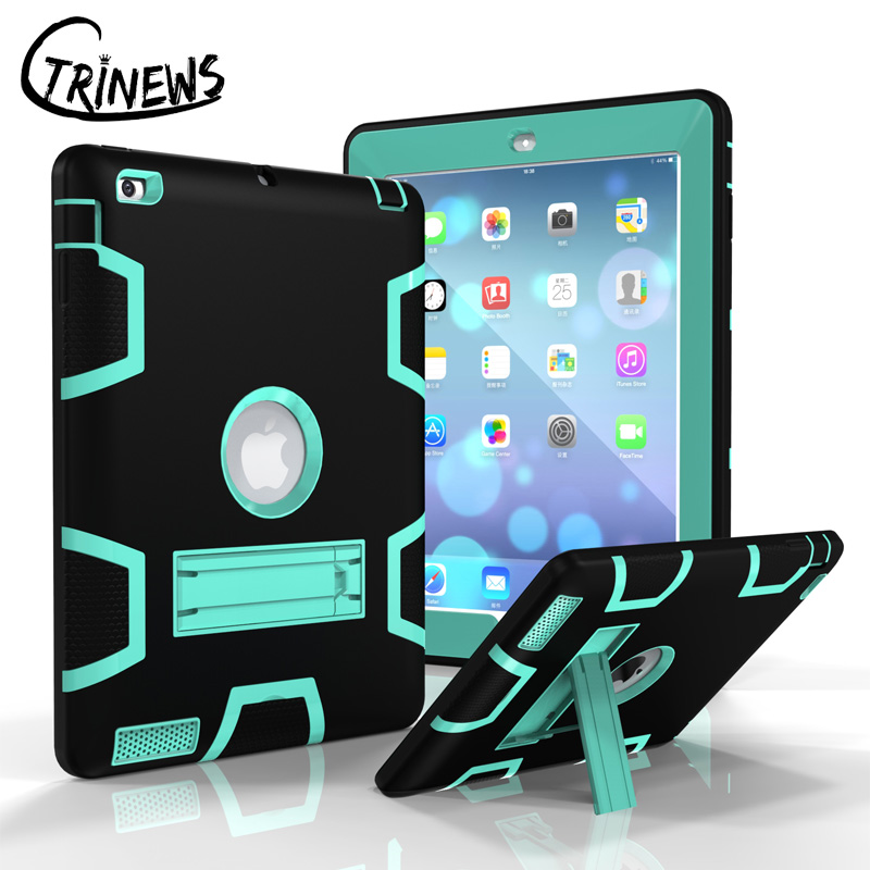 CTRINEWS Case For Apple iPad 4 3 2 Armor Shockproof Heavy Duty Silicone Hard Stand Cover For iPad 2 Tablet PC Protective Case