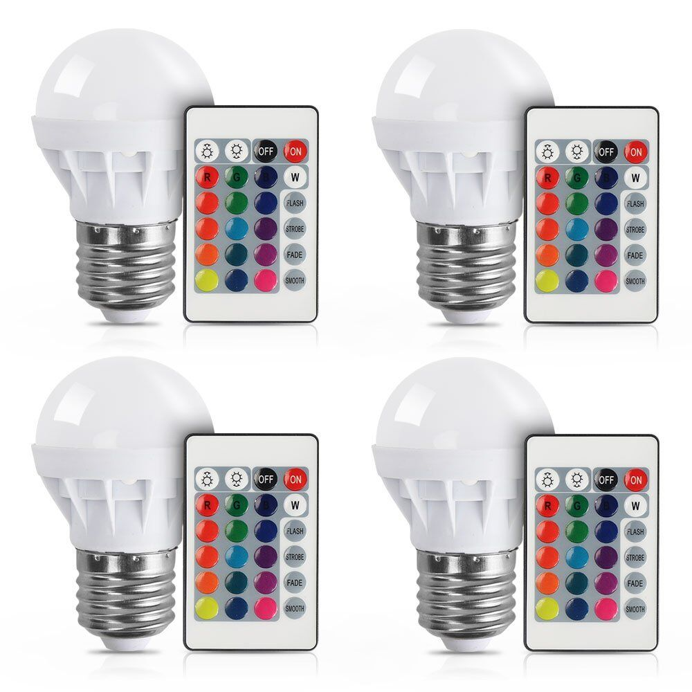[4/Pack] E27 3W RGB LED Light Bulb With Remote Control Color Changing LED Lamp for Party Decoration / Home Use / Bar / Wedding