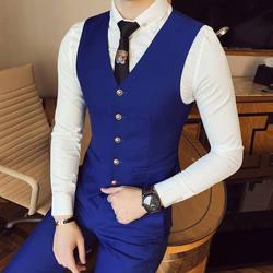 Благородный Для мужчин костюм жилеты Однотонная одежда жилет мужской Slim Дизайн жилет высокое качество 7 цветов дополнительно S-XXXL