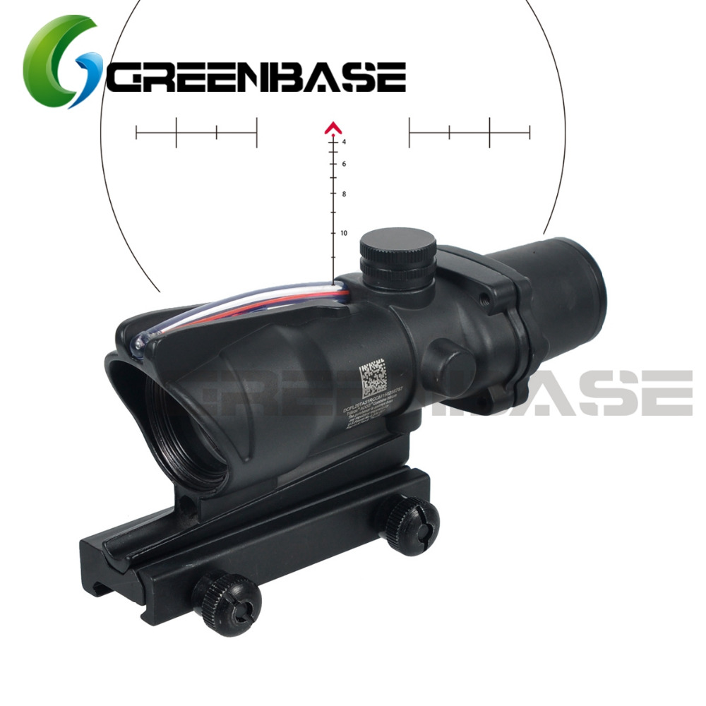 Greenbase Tactical ACOG Hunting Riflescope Chevron Reticle ACOG 4X32 Scope Real Fiber Optics Red Green Illuminated