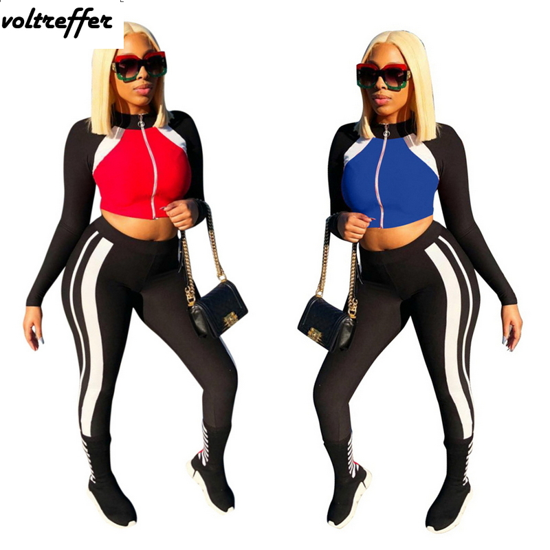 2018 New Arrival Patchwork Ensemble Femme Women's Sexy Casual Outfits Crop Top And Pants Bodycon Bodysuit Cardigan Zipper XXL
