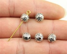 WYSIWYG 15pcs 7mm Charm Round Spacer Beads Space Beads For Jewelry Making Bracelet Diy Antique Silver Metal Round Spacer Beads(China)