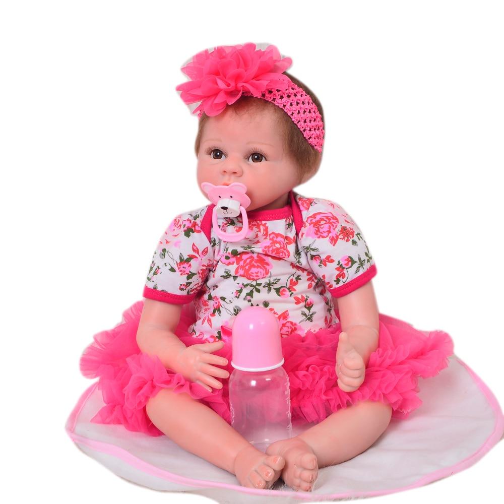 Лидер продаж Мягкие силиконовые возрождается ребенка 55 см 22 ''Реалистичная Reborn Boneca жив bebe для малышей для маленьких девочек куклы для детей