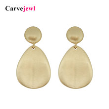 Carvejewl post earrings tear drop round dangle earrings for women jewelry girl gift new fashion korean earrings matte gold plate цена и фото