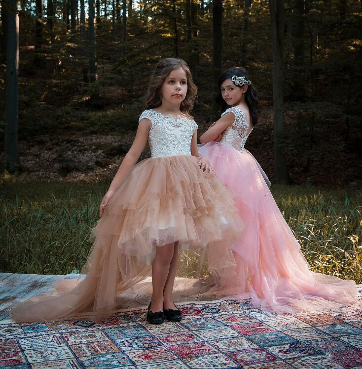 New Pink Flower Girls Dresses for Wedding High Low Pearls Beaded Lace Girls Birthday Pageant Gown Size 2-16Y