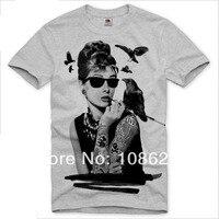 Man T Shirts Audrey Hepburn FashionT Shirt Print T Shirt Men Cotton O Neck Short Sleeve