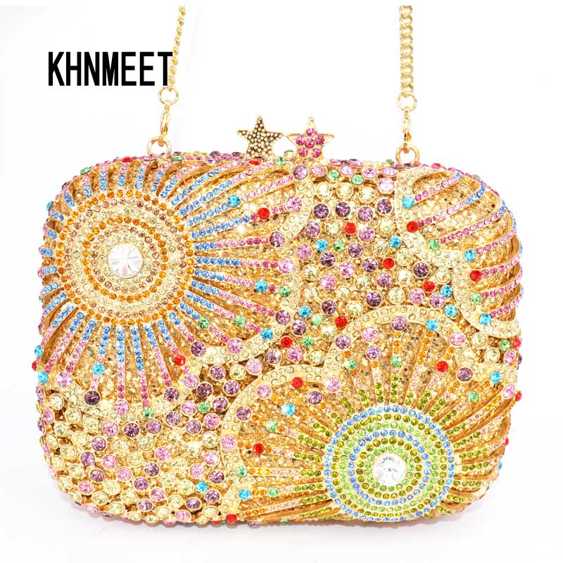 Stars Luxury Crystal Clutches Evening Bag Pentagram Shape Party Bag Women Wedding Bag Chain Purse Day Clutches Bag SC242 luxury real new arrival day clutches diamonds flower women bag banquet crystal handbag wedding party handbags night clubs purse