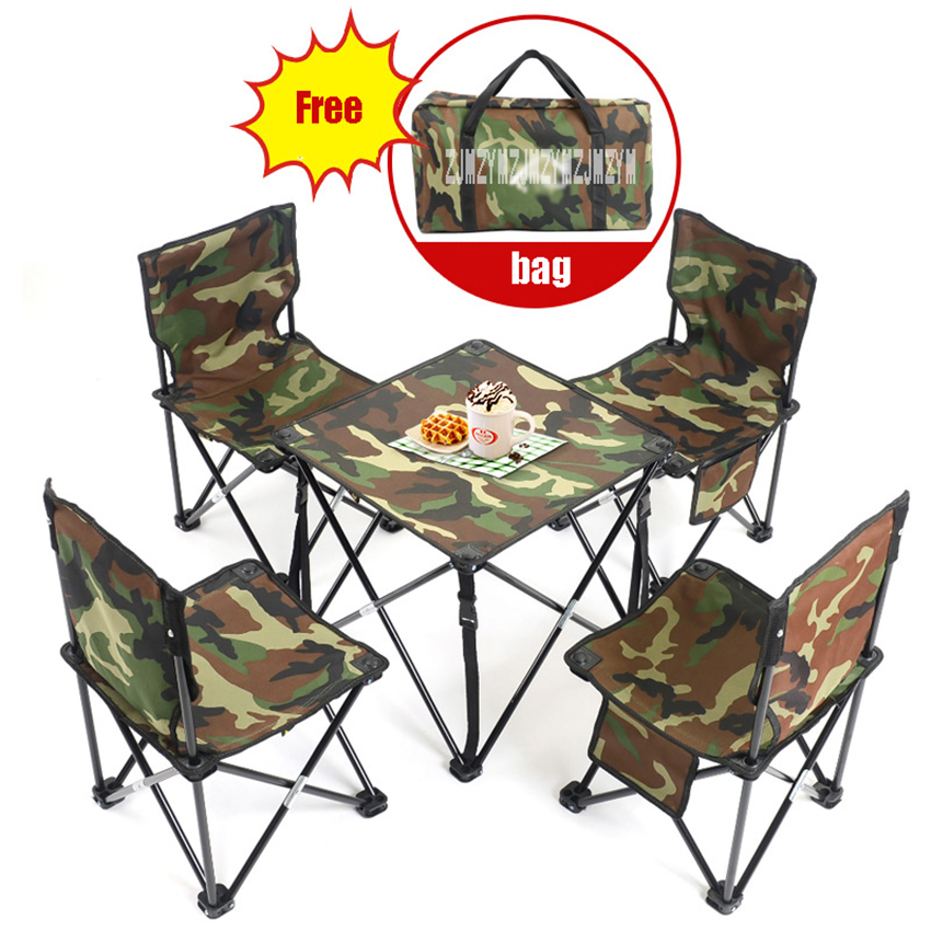 5 in 1 Camping Hiking Outdoor Foldable Chair Table Set Fishing Picnic BBQ Chair Seat Resting Stool ( 4pcs Chair + 1pc table) king camp комплект 3850 table chair set серый